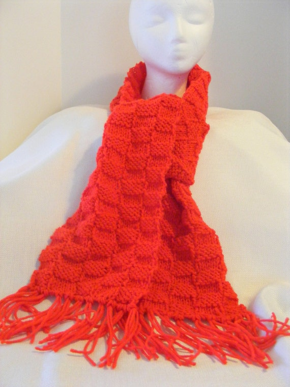Red Basket Weave Knitted Scarf by DPDebsDesigns on Etsy