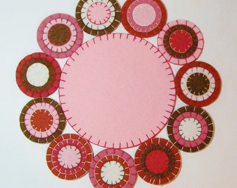 Candle Mat Penny Rug Handmade Wool Felt Blend Circles and Embroidery-February Valentines