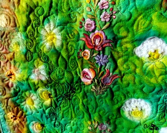 Ancient garden- wall art quilt, large wall hanging, landscape fiber art, floral wall art, nature art quilt, original art quilt