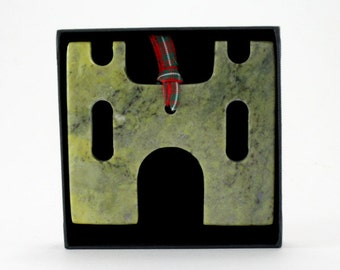 Handcrafted Connemara Marble Christmas Ornament (Castle)