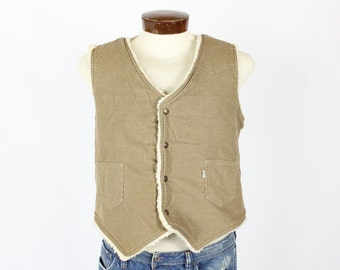 Vintage 80s Levis Vest Corduroy Faux Shearling Fur Lined Western Hunting Jacket 1980s Large L Tan