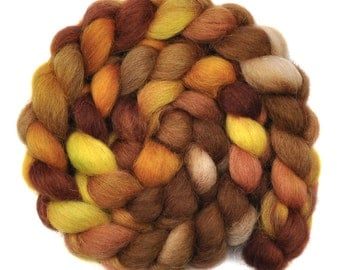 Handpainted spinning fiber - Masham wool combed top roving - 4.1 ounces - Muddy Plain