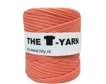 The t-shirt yarn 120-135 yards, 100% recycled cotton tricot yarn, peach 211