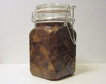 Glass Stash Jar (Large) SQUARE Latch-Top Jar: Poo Brown