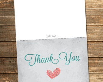 Baby Love Thank You Card in Teal and Coral / Gray Vintage Baby Shower / PRINTABLE FILE