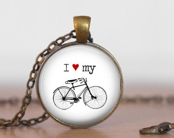 Round white 'I love my bicycle' glass dome pendant necklace (silver or bronze) (bike, cycle, cyclist, cyclist gift)