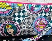Wonder Woman - Supergirl - Batgirl - Zippered Pouch - Makeup Bag - Wristlet - OOAK - Ready to Ship