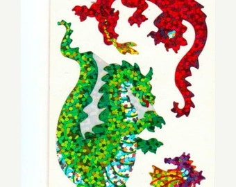 ON SALE Rare Vintage Hambly Dragon Glitter Stickers 80's - Medieval Monster
