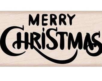 Hero Arts Wood Mounted Rubber Stamp - Merry Christmas Calligraphy H6178