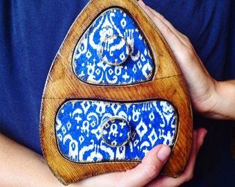 Wooden box , jewelry box, Jewelry storage keepsake drawer vintage wooden box, ikat, tribal, blue, white