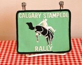 vintage iron on patch - 'CALGARY STAMPEDE' rally budge