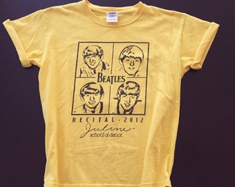 The Beatles yellow school of dance band kids shirt Paul McCartney, John Lennon, George Harrison & Ringo Starr