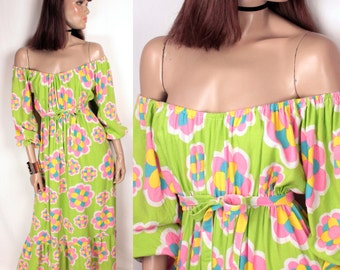 1970s psychedelic maxi // off the shoulder // empire waist