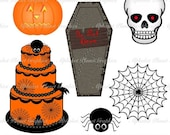 30% OFF SALE Halloween  spooky digital clip art set, clipart personal and commercial use digital download