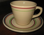 Tan with Multi Color Stripes Restaurantware Coffee Cup and Saucer Syracuse Shenango