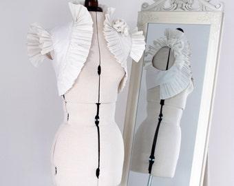 Ivory Bolero Jacket shrug ~ Hand Tailored in Ivory Silk