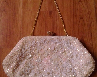 60s hand beaded and sequin ivory clutch evening purse by Richere