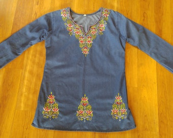 80s Denim style Indian embroidered tunic shirt