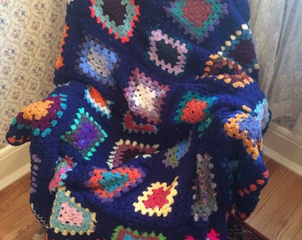 Traditional Granny Square Afghan in Fun Colors with a Dark Blue Border