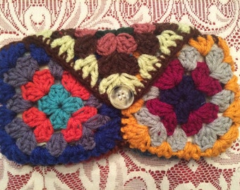 Earthy Multicolor Crochet Granny Square Lined Clutch
