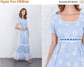 ON SALE Vintage 70s Blue Boho Hippie Dress Gingham Plaid Print Floral Lace Crochet Small  7686 vintage dress 70s dress blue dress boho dress