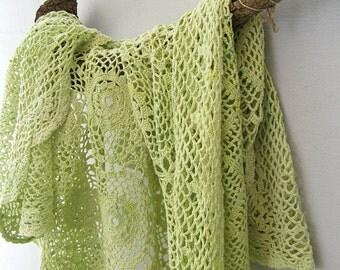 Pistachio Green Crochet Tablecloth, Hand Dyed Vintage Rectangular Table Cloth, Shabby Rustic Spring Home Decor Retro Modern 70s Table Linen
