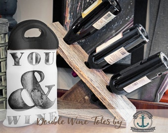 BYOB Wine Tote   You & Wine   Two Bottle Neoprene Wine Carrier    Bar Accessory   Custom Available