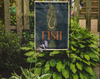Fish Flag | Blue Rustic Fishing  Lake House, Boat Decor | Garden or Large House Flag | Size via Dropdown | Convo for Custom
