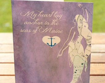 Mermaid Greeting Card   Heart Anchored in Maine    A7 5x7 Folded - Blank Inside - Wholesale Available