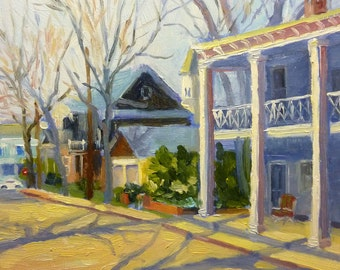 Through Town Original Impressionist Plein Air Landscape Oil Painting New Jersy