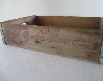 RC Cola Wooden Crate, Vintage, Royal Crown Cola, Soda Pop Soft Drink Box, Industrial Commercial Storage, Rustic Garden Porch Cabin Cottage