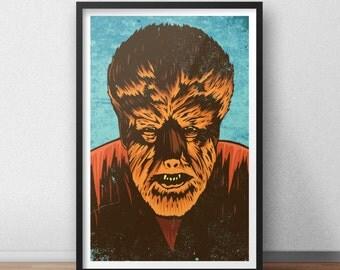 Wolf Man - 12 x 18 inches - Horror - Werewolf - Monster - Classic Horror Movie