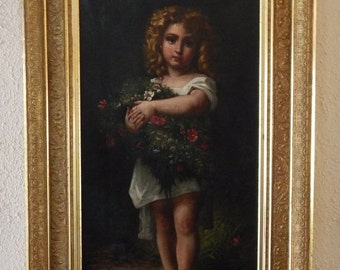 Sale 19th C. Antique French Oil Painting Art Portrait of Young Girl William Adolphe Bouguereau Oil/Canvas Home Decor