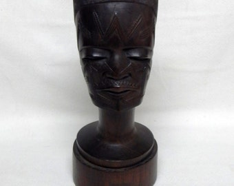 Vintage African Tribal Sculpture Art Carved Wood Head Bust of a Warrior Man Home Decor