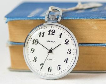 Pocket watch unused, Soviet men's pocket watch silver shade, men's pocket watch Sekonda, delicate watch rare Little Ship Korablik symbol