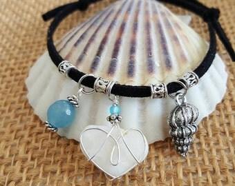 Boho Bracelet, Beach Heart Charm Bracelet, Jewelry