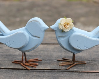 Wedding Love Bird Cake Toppers Rustic Shabby Chic Weddings Custom Color