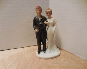 Vintage Bisque Bride and Groom cake topper made in Japan