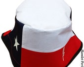 Texas State Flag White-top Unisex Bucket Hat | Texas Hat | Texas Flag | Patchwork Hat | The Lone Star State | Country Hat by Hamlet Pericles