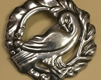FREE SHIPPING Vintage Sterling Silver George Jenson Style Bird Brooch