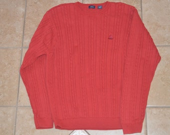 IZOD 100% Cotton Sweater, Brick-Red Men's Size XL, Made in Japan