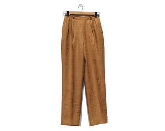 Brown Linen Pleated Trousers / High Waist Trousers / Tailored Pants