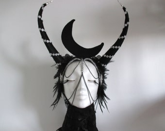Moon in the protection of the horns. . . Moon head piece, Mysticism headdress, fantasy Headdress, Burning Man, horns Headpiece