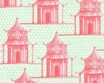 Michael Miller fabric by the yard Pagoda Time in Coral 1 Yard