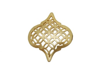 Gold Toned Drop Pendant with Intricate Designs - Gold Toned Brass Charm Pendant BIC (S68B14-02)