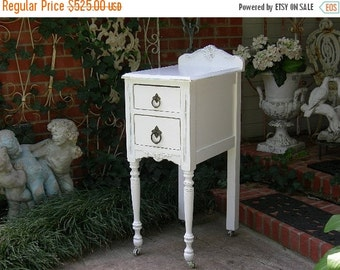 15% OFF Gorgeous Single Antique Nightstand Shabby Chic Painted Custom Restored Modified and Refinished