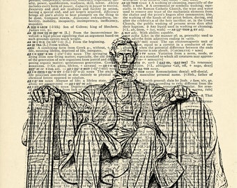 Washington DC Dictionary art vintage Lincoln Memorial architecture on Upcycled Vintage Dictionary Paper - 7.75x11