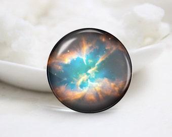 Handmade Round Galaxy Photo Glass Cabochons (P3637)