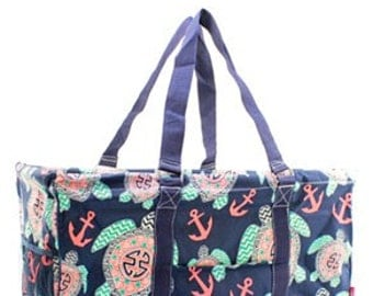 Monogrammed Sea Turtle Utility Tote - Carryall Tote - Tailgating -Back to School - Teacher gifts - Pool or Beach Bag -Great Shower gift!
