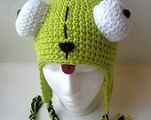 Lime green or green-Alien hat-newborn to adult-made to order